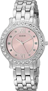 GUESS Womens Silver-Tone and Pink Analog Watch