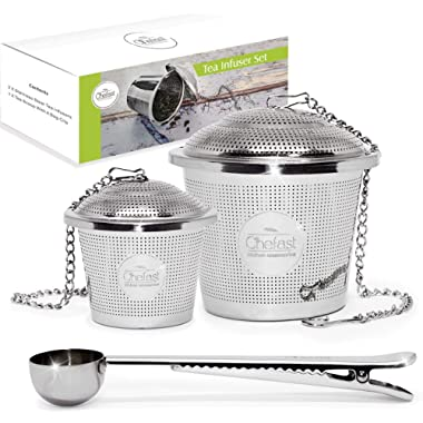 Chefast Tea Infuser Set (1+1 Pack) - Combo Kit of Single Cup and Large Infusers, Plus Metal Scoop with Clip - Reusable Stainless Steel Strainers and Steeper for Loose Leaf Teas