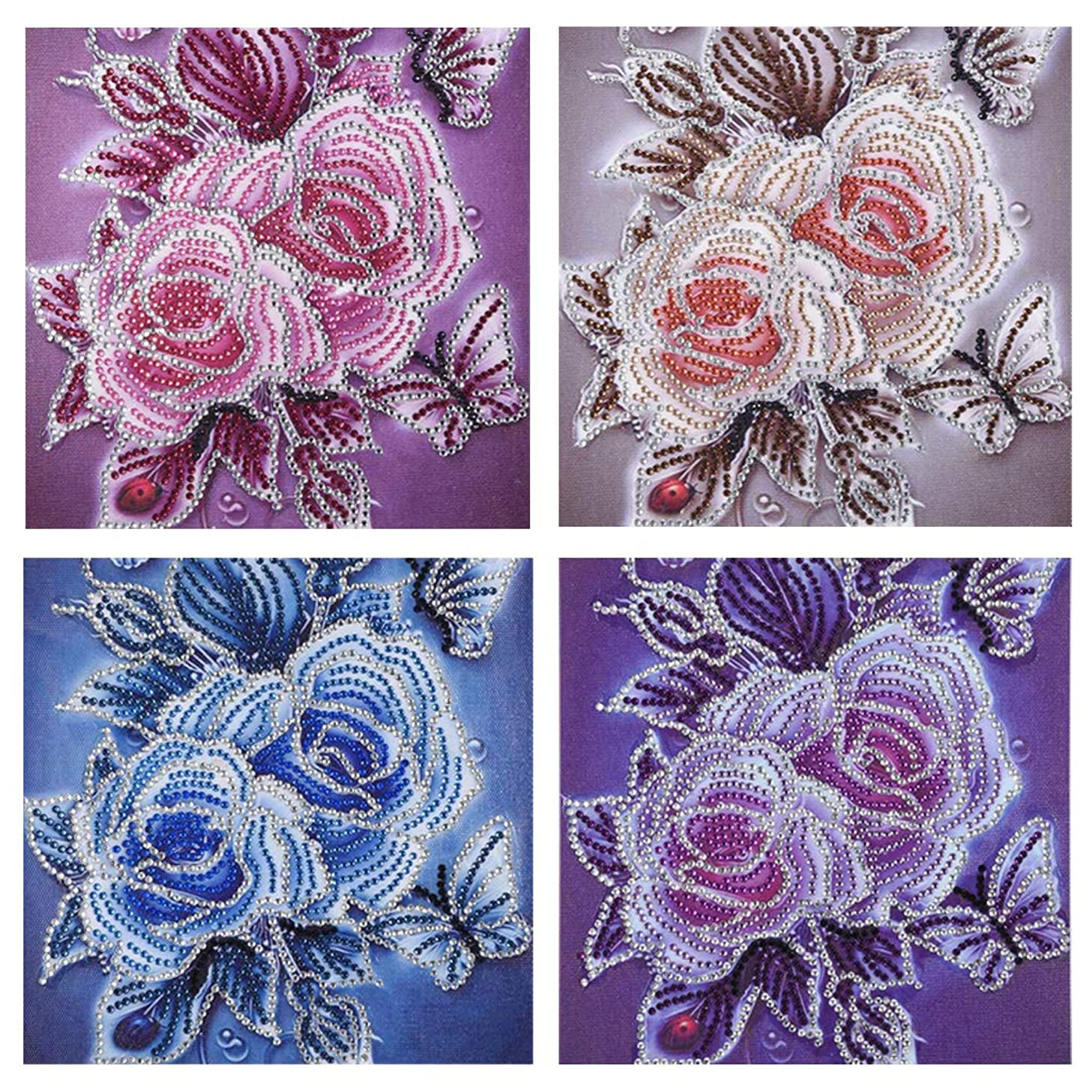DIY 5D Special Shaped Diamond Painting by Number Kits, Section Drill Rhinestone Embroidery Cross Stitch Pictures for Home Decor Ross Beauty (Vintage Flower 01)