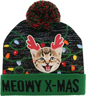 Meowy Christmas X-Mas Beanie Hat with Led Lights and Pom