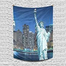 INTERESTPRINT Statue of Liberty with NYC New York City Cityscape at Night USA Tapestry Wall Hanging Art Cotton Linen Tapestries for Living Room Bedroom Dorm Decor, 60