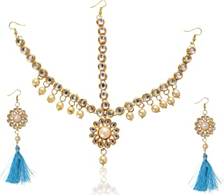 سانسار الهند كوندان مجوهرات وأقراط الشعر الهندي للبنات والنساء 1273