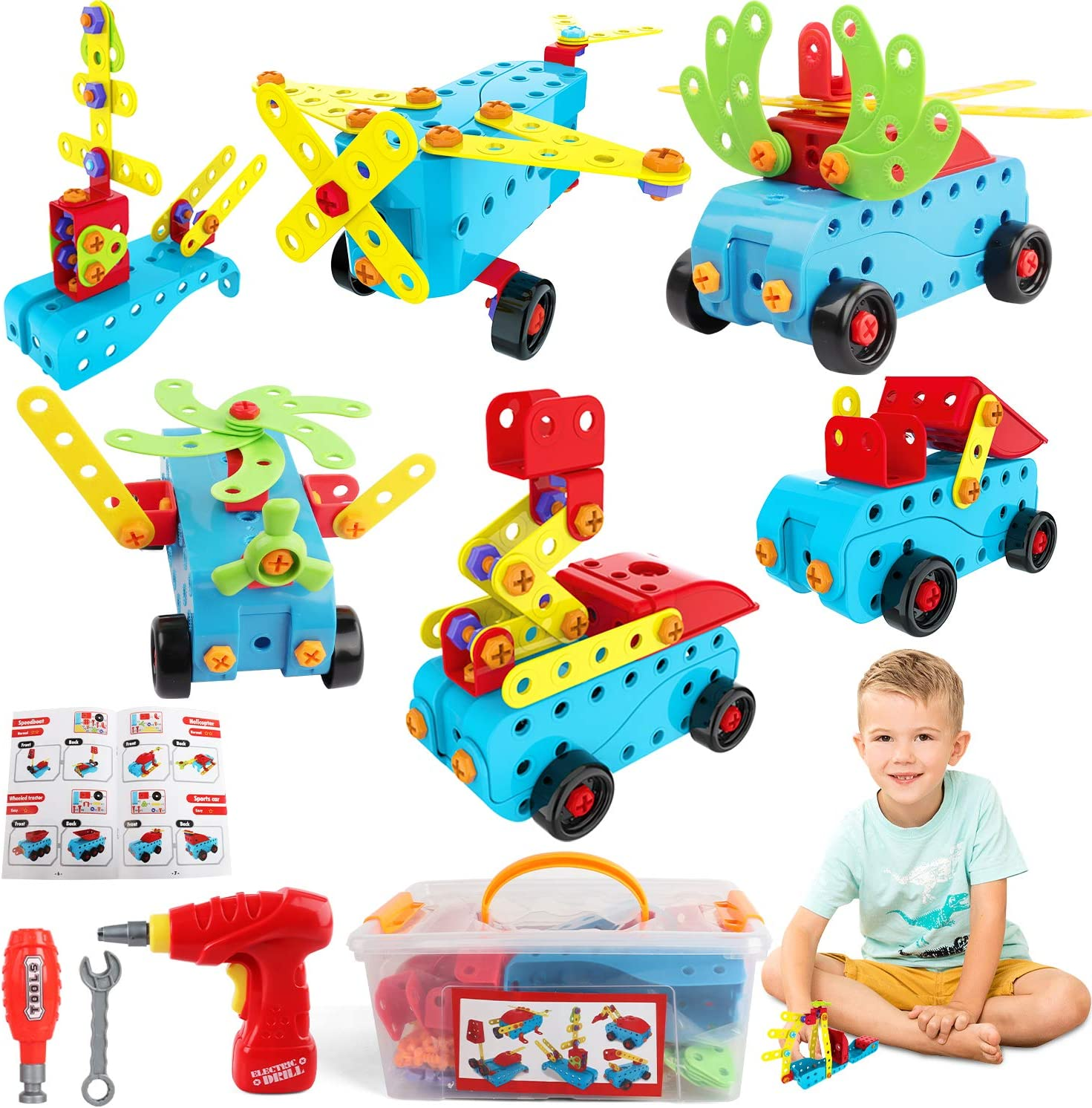 Over item handling HONYAT 296 Pieces STEM Toys Electric 1 year warranty Toy Puzzle S Drill Building
