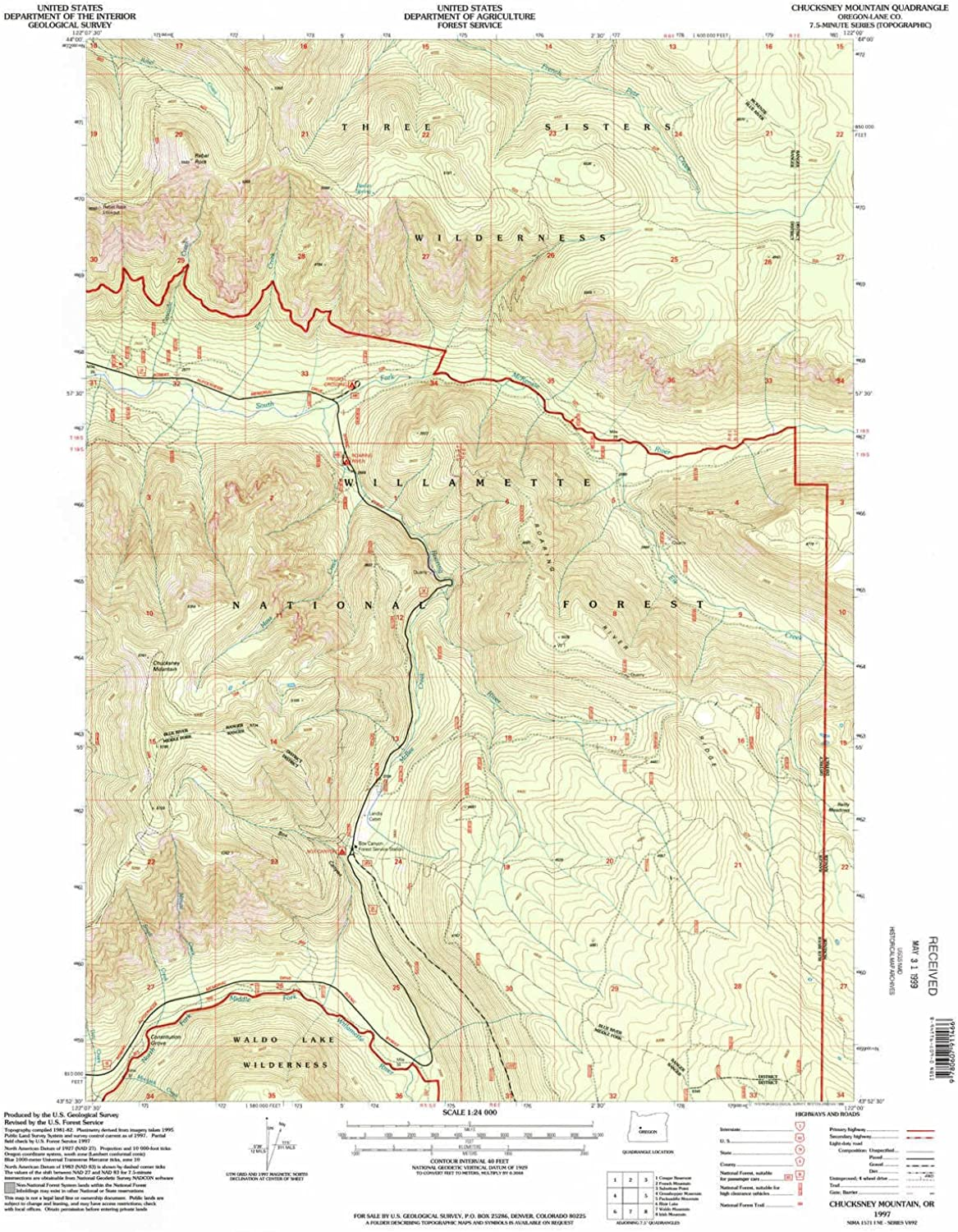 Chucksney Mountain OR topo map, 1 24000 Scale, 7.5 X 7.5 Minute, Historical, 1997, Updated 1998, 26.8 x 21.9 in