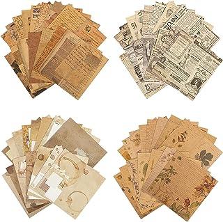 120 Feuilles de Papier de Scrapbooking, Papier Kraft Vintage Fournitures de Scrapbooking de Journalisation Décor de Chambr...