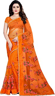 Bollyclues Net With Blouse Piece Saree