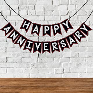 Wobbox Happy Anniversary Bunting Banner, Red Gliter & Black , Anniversary Party Decoration