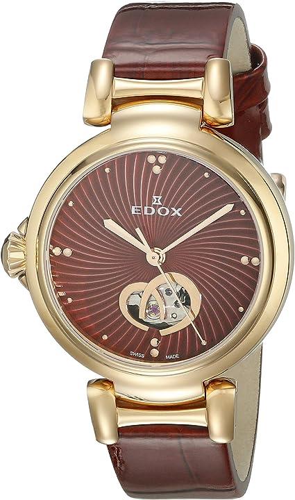 Orologio edox 85025 37rc rouir lapassion display analogico svizzero automatico rosso orologio