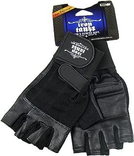 Iron Tanks Pro Wrist Wrap Leather Gym Gloves - Gym Bodybuilding Fitness Workout Mens