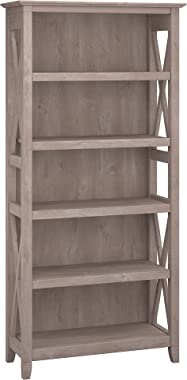 Bush Furniture Key West Collection 5 Shelf Bookcase in Washed Gray