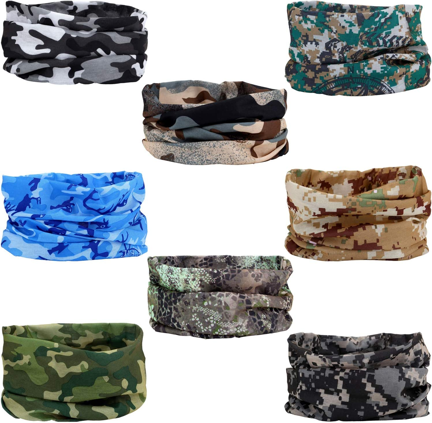 SMEHCF 8 Novelty Seamless Bandana Balaclava Face Cover Mask Shield Neck Gaiter Reusable Breathable Dustproof Windproof Unisex Digtal Camo Camouflage Autumn Winter Forest Jungle