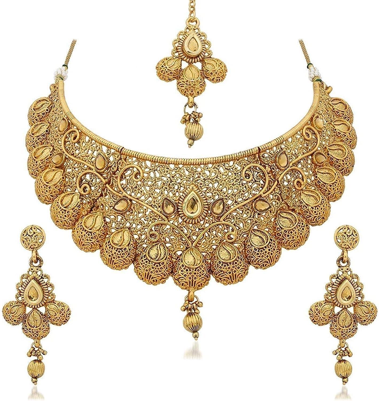 Efulgenz Indian Bollywood Traditional Crystal Pearl Wedding Temple Choker Necklace Earrings Maang Tikka Jewelry Set