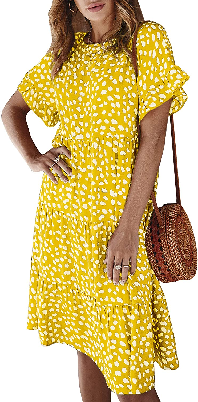 ECOWISH Women's Polka Dot Dress Ruffle Sleeves Boho Pleated Swing Blouse Dresses