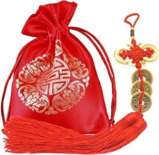 Babofarm Chinese Feng Shui Brass Copper Coins for Lucky Wealth Success Three Emperor Money (Premium Quality, 3 Coins with 2 Tassels)