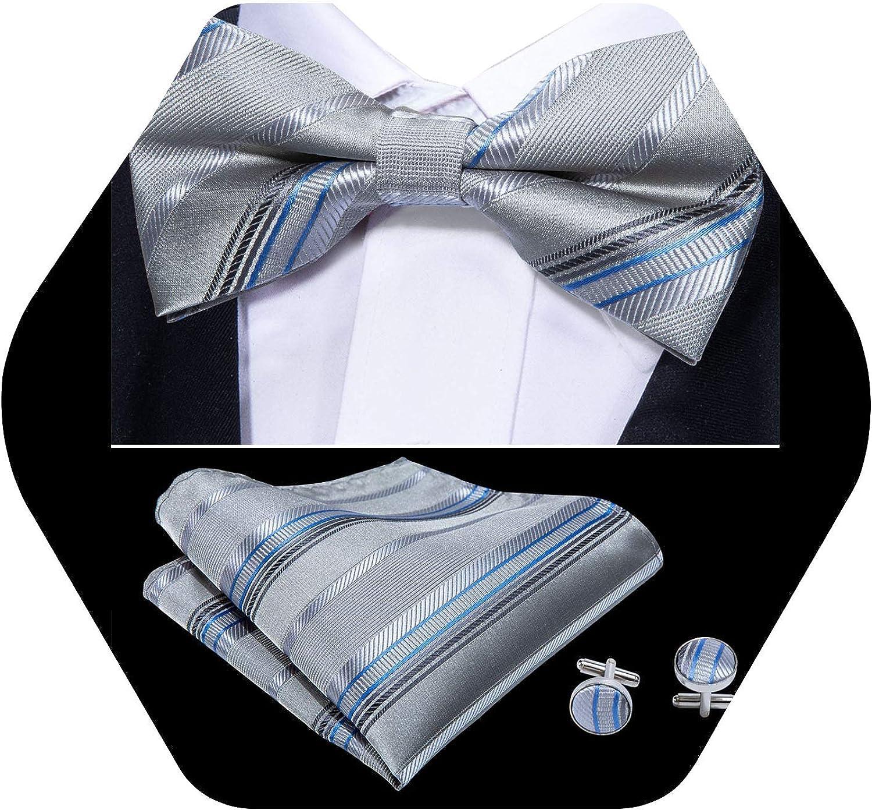 YOHOWA Men's Pre-Tied Bow Tie Formal Silk Adjustable Colorful Bowties for Men/Boys Handkerchief Cufflinks Set