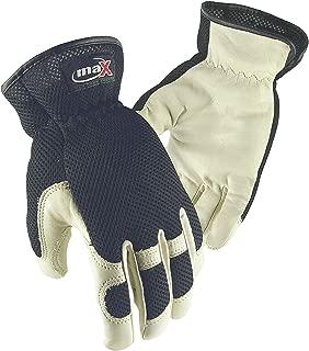 Galeton 9120053-L Max Extra Utility/Mechanics Cowhide Work Gloves, Large, Black/Natural