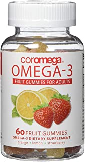 Coromega Adult Omega 3 Fish Oil Gummies, 50mg DHA and 10 mg EPA of Omega-3s Fatty Acids, Dietary Supplement, Orange, Lemon...