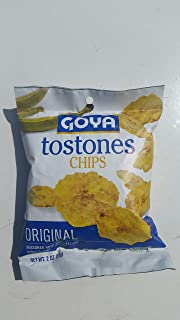 Goya Tostones Chips Originals Plantain Chips, Sea Salt, Cooked in Sustainable Palm Oil 2 oz (2pack)