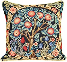 Signare William Morris Artist Tapestry Double Sided Square Throw Pillow Cover 18 x 18/ 45cm x 45cm (No Padding) in Orange Tree of Life Design