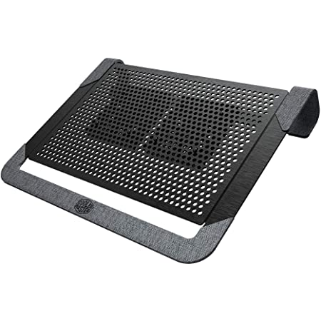 """Cooler Master Notepal U2 Plus V2, dispositivo di raffreddamento per notebook fino a 17 """", 2x ventole di raffreddamento mobili da 80 mm, alluminio nero"""