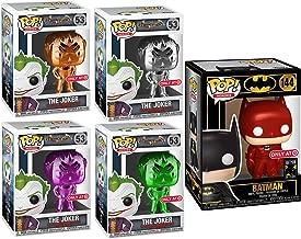 BatRed Edition Batman Red Card Exclusive Figure Pop! Heroes Vinyl Bundled with Arkham Asylum - The Joker (Silver Chrome) (NYCC Debut) 4 Variants Green / Purple / Orange Colored DC Comics 5 Items