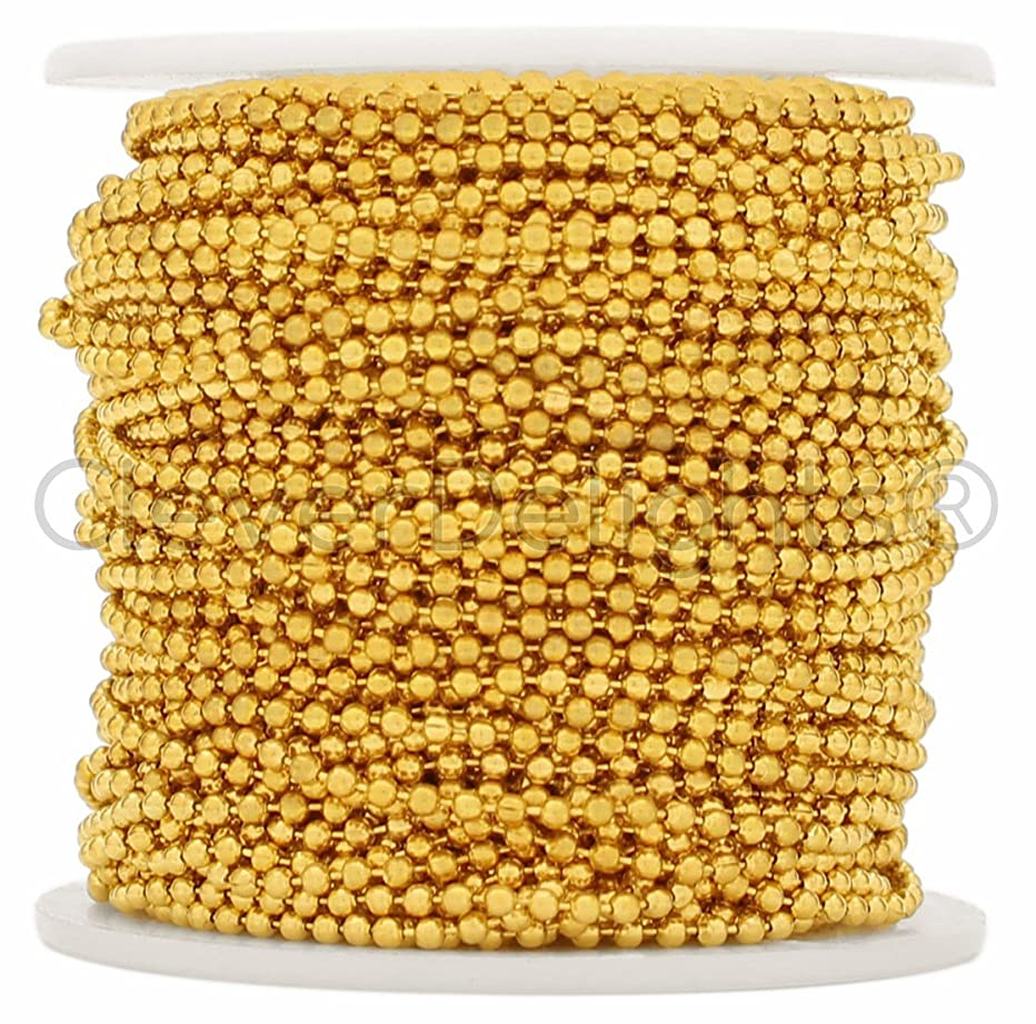 CleverDelights Ball Chain Spool - 30 Feet - 2.0mm Ball - Gold Color - 10 Meters