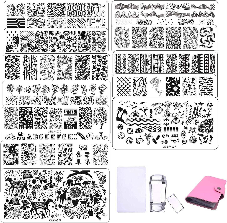 Nail Art Stamping Plates 12pcs Placas Estampacion Uñas para Manicura +1pcs Sello de Silicona +1 pcs Rascador +1 pcs Bolsa para Placas(Rosa)