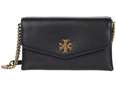 Tory Burch Kira Pebbled Chain Wallet (Black) Handbags
