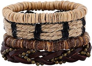 Leather Bracelet for Men Wrist Band Brown Rope Bracelet Bangle