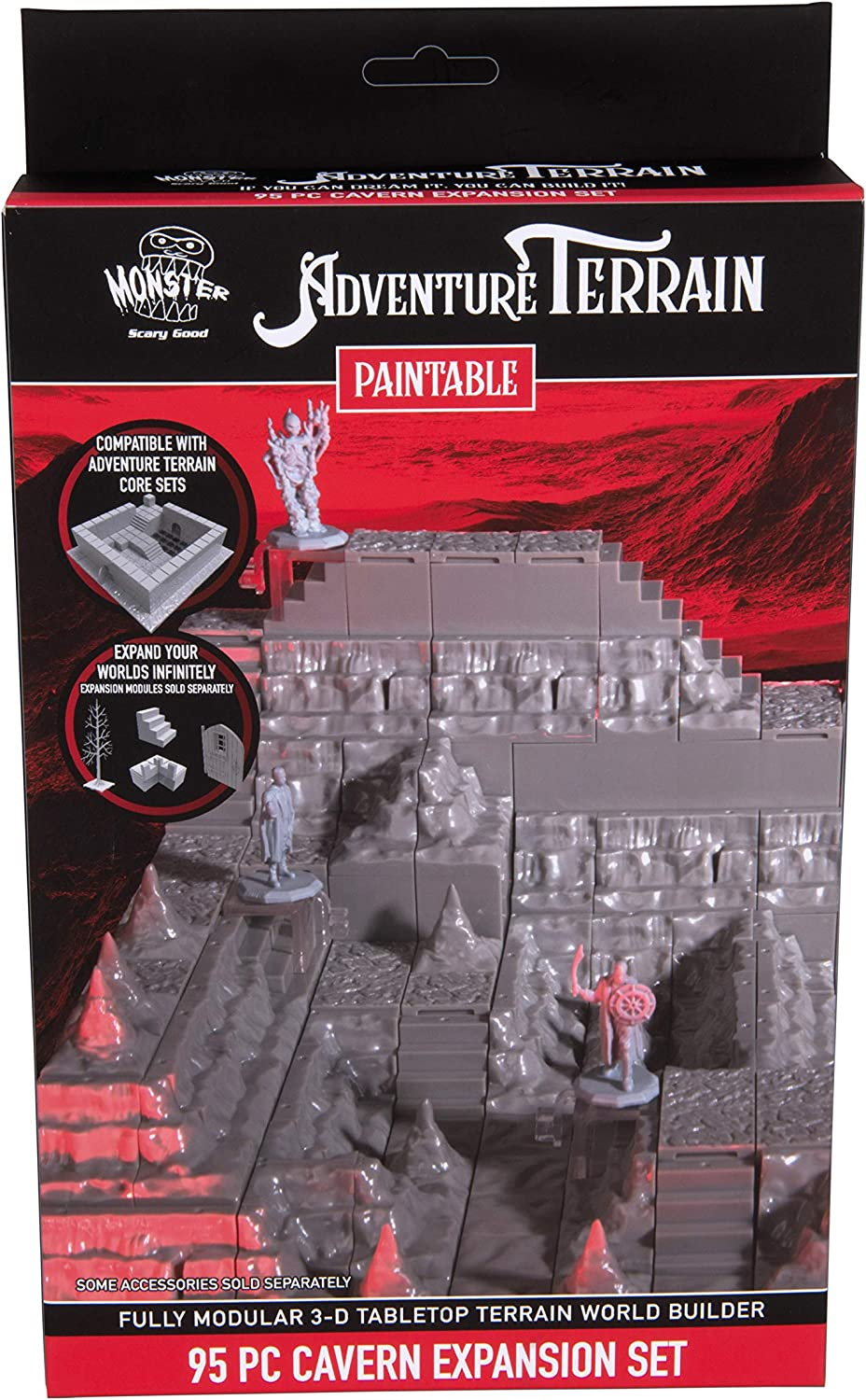 Monster Adventure Terrain- Genuine Free In stock Shipping 141pc Paintable Cavern Set Expansion