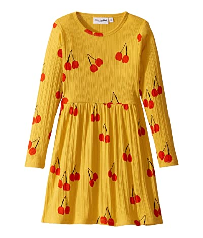 mini rodini Cherry Long Sleeve Dress (Infant/Toddler/Little Kids/Big Kids) (Yellow) Girl