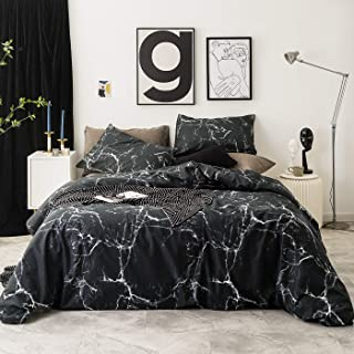 YuHeGuoJi Duvet Cover 3 Pieces Set King Size 100% Cotton Black Marble Print Bedding Set 1 Modern Pattern Duvet Cover with Zipper Ties 2 Pillow Cases Hotel Quality Soft Lightweight Breathable Durable