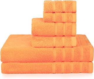 PROMIC 100% Cotton Bath Towel Set, 6 Piece Includes 2 Bath Towels, 2 Hand Towels, and 2 Washcloths – Highly Absorbent and Softness, Fade-Resistant, Fall Decor Idea, Orange