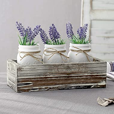 MyGift Decorative White Glass Mason Jars in Vintage Torched Wood Box Tray for Plant Display and Flatware Storage