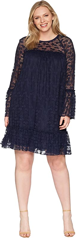 Plus Size Long Sleeve Lace Ruffle Dress