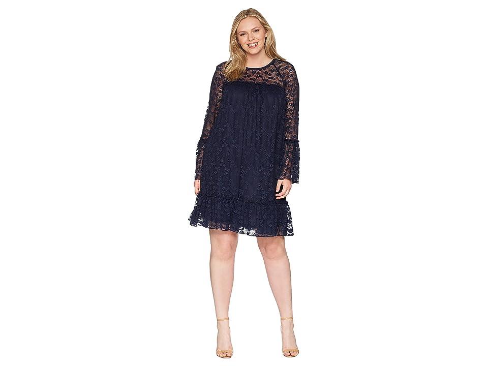 MICHAEL Michael Kors Plus Size Long Sleeve Lace Ruffle Dress (True Navy) Women