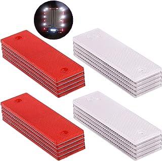 Swpeet 20Pcs Universal Red + White Plastic Rectangular Stick-on Car Reflector Sticker, Door Reflectors Interior Red + Whit...