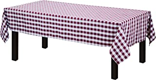 Gee Di Moda Checkered Rectangle Tablecloth - 60 x 102 Inch - Burgundy & White Checkered Table Cloth 6 Foot Table in Washab...