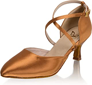 JIAJIA 2.4'' Women's Satin Sandals Mid Heel Latin Salsa Performance Dance Shoes