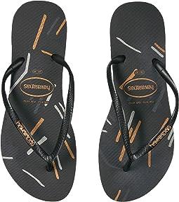 Havaianas - Slim Logo Metallic Fine Lines Flip Flops