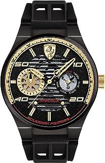 Ferrari Men's Quartz Watch, Analog Display and Silicone Strap 830457, Black Band