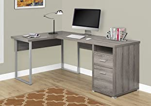 Monarch Specialties Computer Desk L-Shaped Corner Desk with File Cabinet - Left or Right Set- Up - 80
