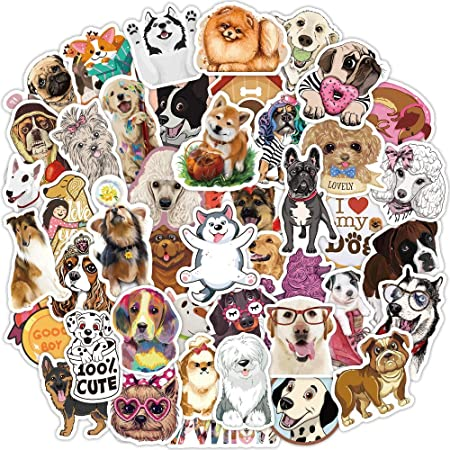 Waterproof Vinyl Stickers for Water Bottles 50 PCS Cute Dachshund Stickers Animal Stickers Graffiti Patches Decals Funny Dog Stickers for Kids Laptop Stickers Skateboard Stickers
