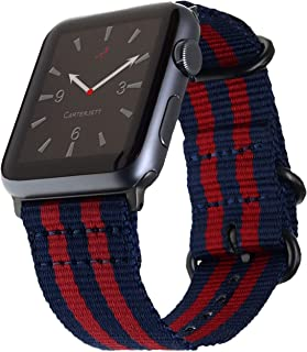 Carterjett Extra Large Compatible with Apple Watch Band 44mm 42mm XL Men Navy Blue & Red Long Nylon iWatch Band Replacement NATO Strap Rugged for Series 4 3 2 1 Nike Sport (42 44 XXL Sailor Stripe)