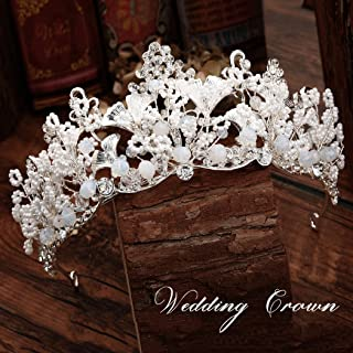 Aukmla Bridal Crown Tiara Baroque Crown Silver Ginkgo Leaves Crystals Headpieces Wedding Hair Accessories for Women and Girls