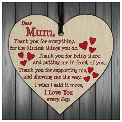 Gifts For MumI Love You Everyday Wooden Hanging Heart Mothers Gift Cute Mums Sign