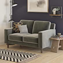 DHP Brynn Loveseat Seater Upholstered, Living Room Furniture, Velvet Sofa, 2, Gray