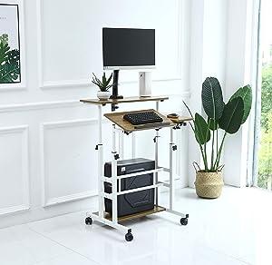 UNICOO- Rolling Laptop Cart, Height Adjustable Sit Stand Workstation, Mobile Standing Desk, Rolling Presentation Cart, Computer Workstation (Ancient Oak-U101)