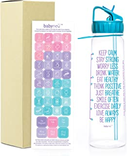 AQUANEÜ babyneü Pregnancy Gift Time Marked Water Bottle with Motivational Quote, Weekly Calendar Stickers Perfect for Moms to be. BPA-Free, Eco-Friendly, Straw, flip top, and Carrying Loop.