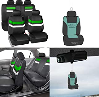 FH Group Year END Sale PU006115 Varsity Spirit PU Leather Seat Covers, Airbag & Split Ready, Green/Black Color